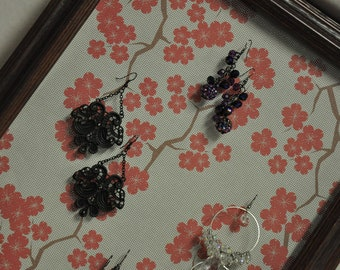 Cherry Blossom Picture Frame Earring Holder Jewelry Organizer Upcycled Green