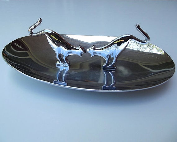 RESERVED Vintage Ashtray Cats Chrome Candy Dish Halloween