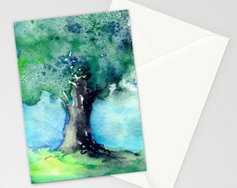 Art Card - Majestic Oak Tree Watercolor Painting