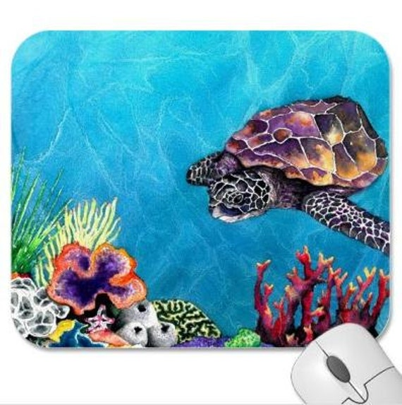 Mousepad - Sea Turtle Ocean Wildlife Painting - Art for Home or Office