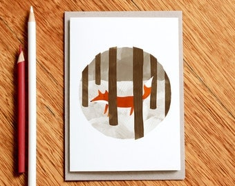 Hide and Seek - Fox Christmas Card Greeting Card
