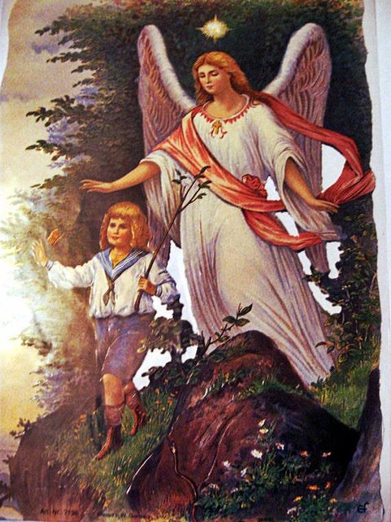 Vintage German Scrap Dresden Embossed Guardian angel