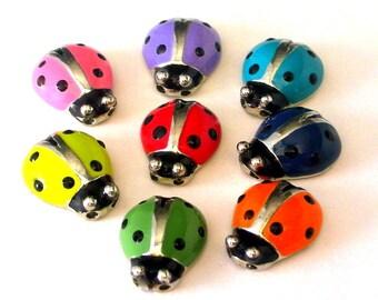 8 ladybug 2 hole slider beads, multicolored ladybug beads