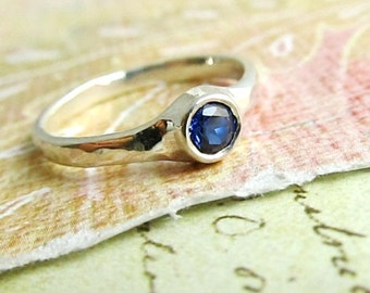 Sterling Silver and Sapphire Ring... AAA Natural 4mm Sapphire, Gemstone Goldsmith Jewelry