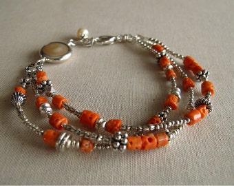 Italian Coral Silver Rimmed Coin Pearl Fine Silver Three Strand Bracelet; Fine Silver Bracelet Holiday Gift