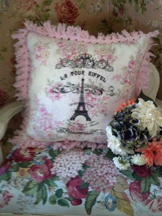 French Chic Paris eiffel tower Pillow digital transfer vintage trim pink roses