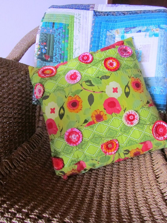 Summers flowers embroidered embellished green cushion cover