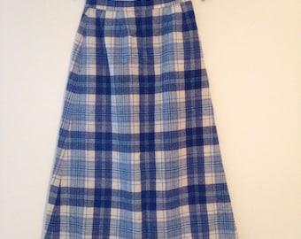 PENDLETON Plaid Wool Floor-Length Skirt, Sz 4 1940s/1950s