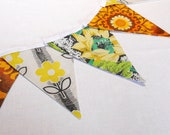 SALE Retro Bunting featuring Daisy Vintage fabric circa 60s and barkcloth Orange, Yellow and Lime Green