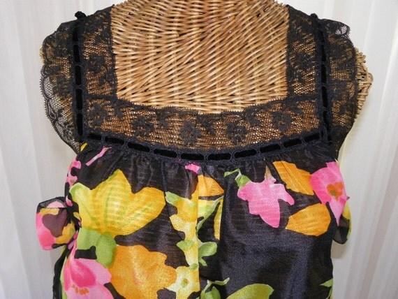 End Of Summer Sale Vintage Chevette ILGWU Union Made Sheer Nightgown New Unworn Black Lace Velvet Weave Slit Sides Floral Print on Etsy