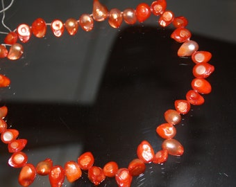 "Orange Cultured Freshwater (dyed) Pearls Teardrop Shape 16"" strand"