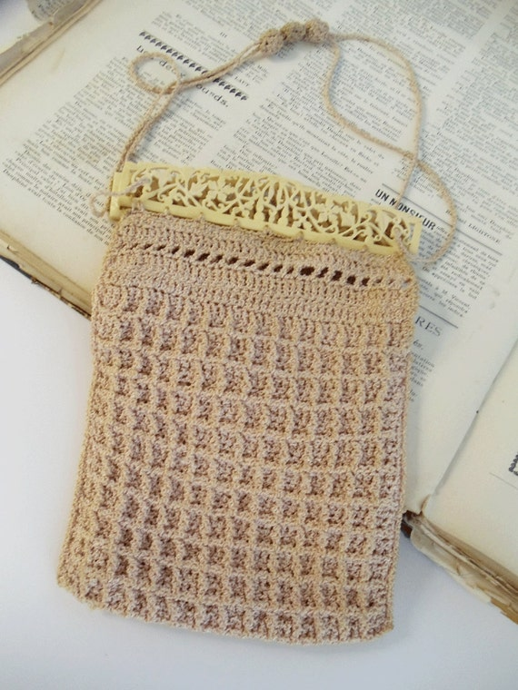 Antique Crocheted Reticule Purse with Carved Bone - Early 1900s - Bridal Accessory