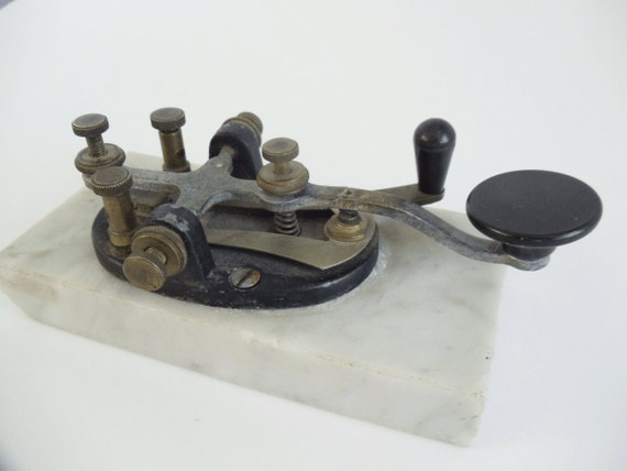 Vintage BAKELITE TELEGRAPH Key -  U.S. World War II Army Signal Corps - Mounted on Marble Base