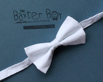 Solid White Bow Tie for little boys - photo prop, baptism, christening, blessing, Easter, wedding