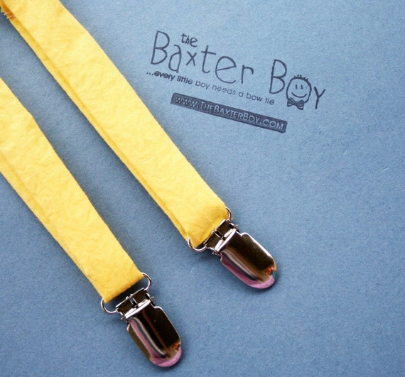 Solid Yellow little boy matching suspenders - photo prop, wedding, ring bearer, accessory