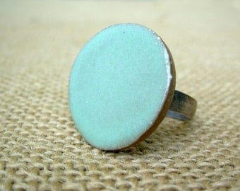 X-Large Adjustable Pottery Ring- Mint Green