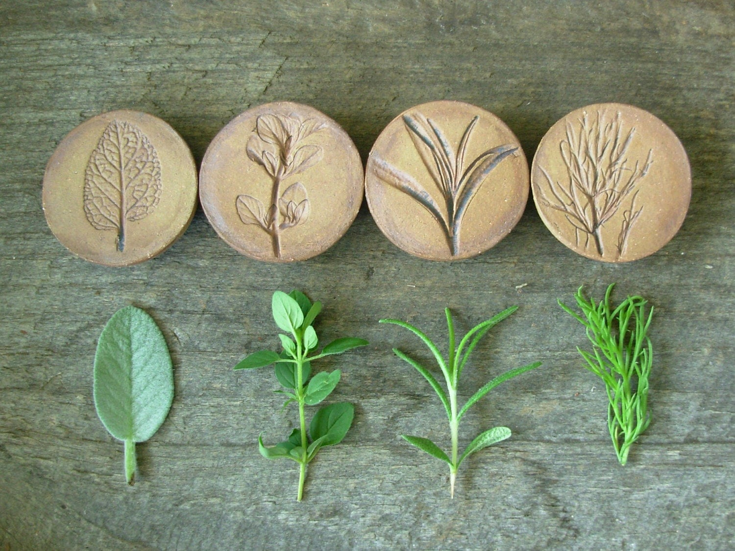 Stoneware Herb Magnets Set Of 4