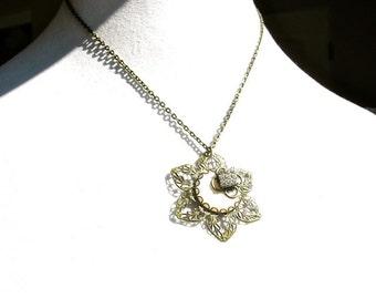 Flower Necklace, Brass and Vintage Rhinestones by dabchickvintagegems on Etsy