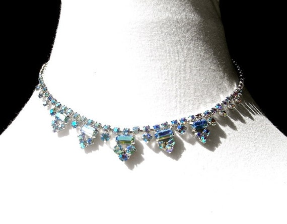 Bridal Jewelry, Vintage Crystal Rhinestone Necklace by Dabchick Vintage Gems