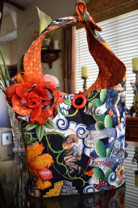 Large Hobo Style Bag Alexander Henry Contigo Print