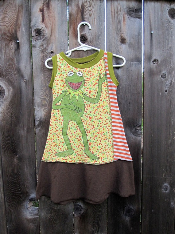 It's Not Easy Being Green Kermit Upcycled Girl's Tank Dress Size 3/ 4