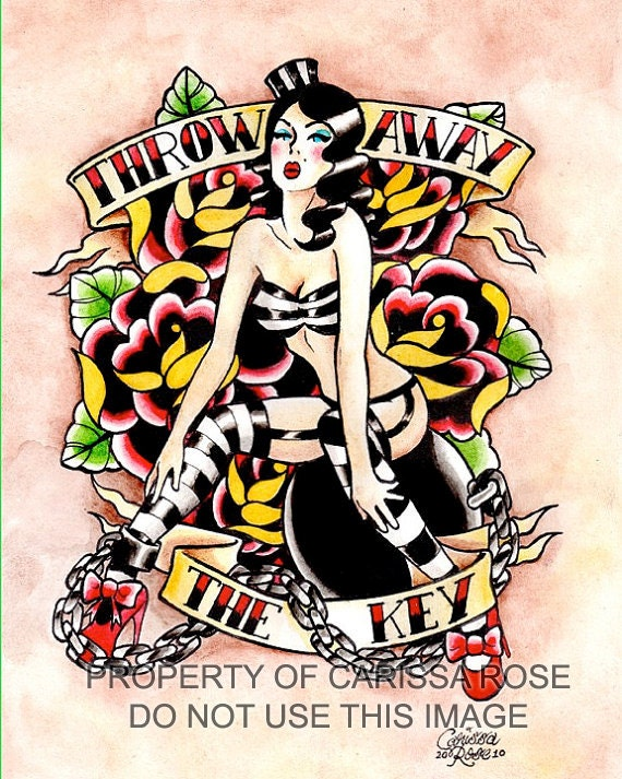 5x7 8x10 or apprx 11x14 inch signed art print by neverdieart for Traditional pin up tattoos