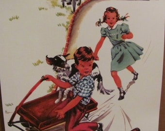 Tom Tom - Retro Vintage Illustrated School Book Page Poster -- Circa 1950s   11 x 17 Many to choose from