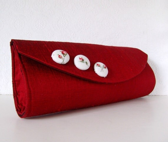 Scarlet red silk clutch with fabric buttons, formal clutch bag