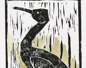 Shore bird block print 5x7 black original linocut bird green watercolor crane heron folk art print