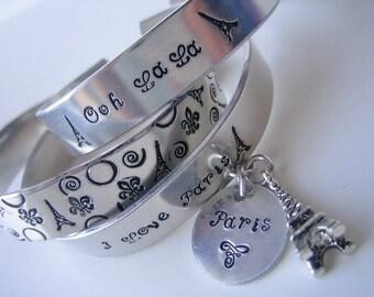 Set of 3 Stackable Metal Stamped Aluminum Cuff Bracelets I love Paris, Ooh La La La and Eiffel Tower - Paris Lover Bracelets - I Love Paris