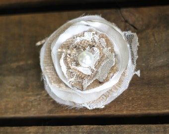 Vintage pearl burlap, silk, satin, chiffon lace and tulle hair clip