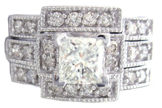 14k white gold princess cut diamond engagement ring and bands deco 1.20ctw