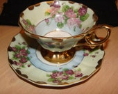 Lefton China Cup and Saucer - Hand painted flowers gold trim on Footed Cup and Saucer - Vitnage Lefton China