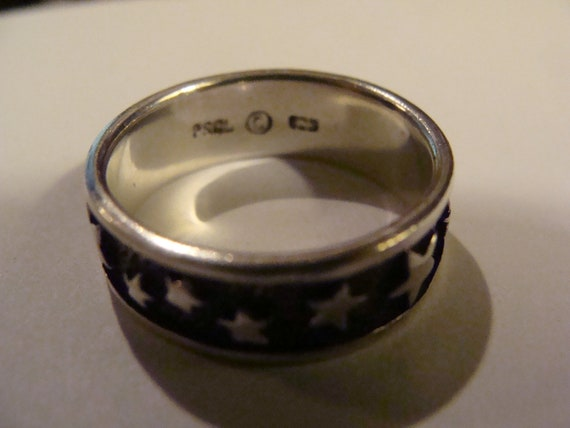 Vintage Sterling Silver 925 PSCL Peter Stone ring with Star design - silver band Ring - Dublin Ireland