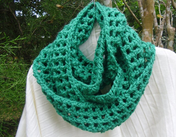 Cozy and soft  Infinity loop scarf neck warmer chrochet in grass green
