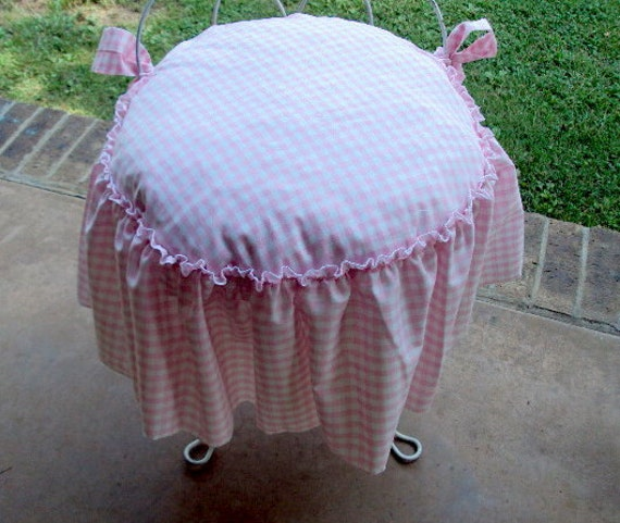 Vanity Seat Covers : Vanity stool cover includes cushion ruffled edge with bow