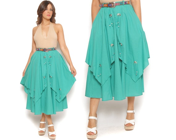 RESERVED 80s Western Midi Skirt Aqua Tiered Handkerchief Hem 1980s High Waisted Metal Embellished Tassels Boho Cowgirl / Size XS Extra Small