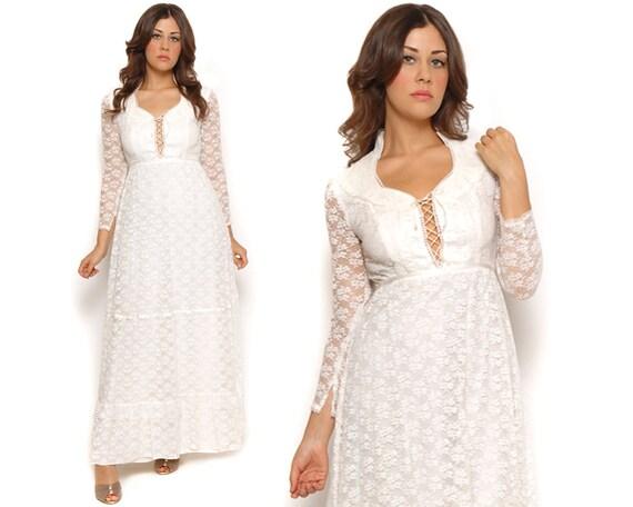 70s Boho Wedding Dress White Lace Peasant Prairie Dress Corset Tie Tiered Victorian Maxi Dress / Hippie Bohemian / Size S Small