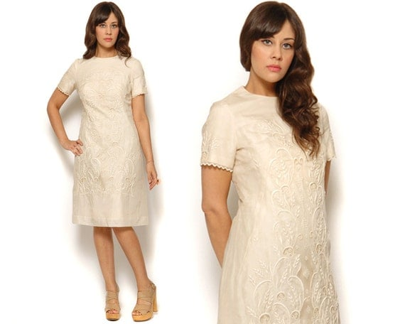 60s Sheath Dress Raw Silk Cream Embroidered Cutwork Lace Decorative Shift Midi Day Dress 1960s Mad Men Retro / Size M L Medium Large