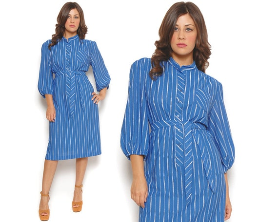 70s Secretary Dress Blue White Polka Dot Stripes Tunic Shirt Dress Midi Button Up Puff Sleeve Belted / Retro Hipster / Size XL Extra Large