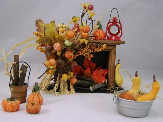 Miniature Fire Place, Dollhouse Miniature, Autumn, Six Piece Fireplace Collection
