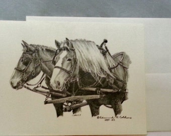 Notecards by Edmund R. Collens,    Fellow Workers, Amish , 1987, Ohio artist
