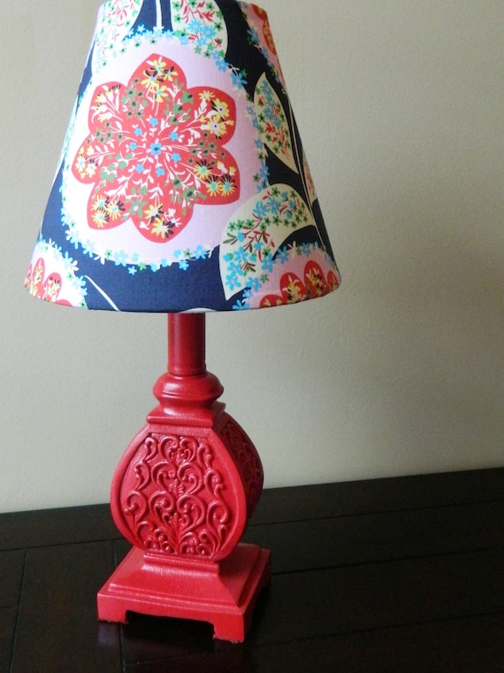 Modern Floral - Red and Navy - Lamp - OOAK