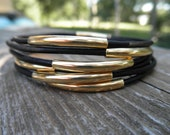 Set of 7 - Black Leather Bangles with Gold Tube Beads