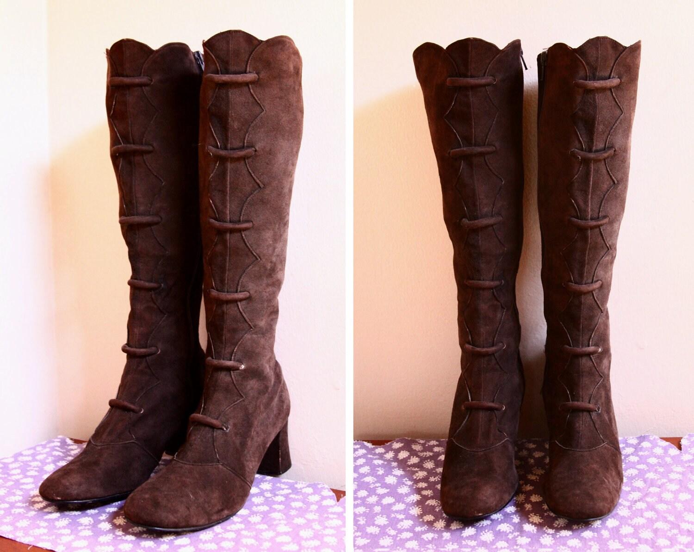 60s mod brown suede go go dancer boots 70s boho brown