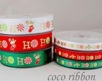 "5,10 or 25 Yards  7/8""~ 3/8""  Christmas Gold Sparkle HoHoHo CANDY Grosgrain Ribbon"