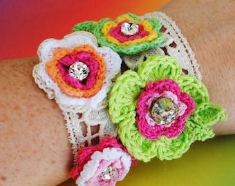 Sale Crochet Flower Cotton Handsewn Stretch Cuff Bracelet