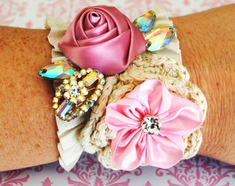 Sale Cotton Gathered Ruffle Cuff Lace Pink Rose Floral Beaded Bracelet