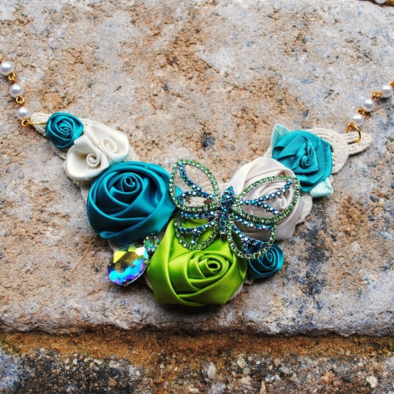 Butterfly Teal Green and Off White Floral Bib Necklace