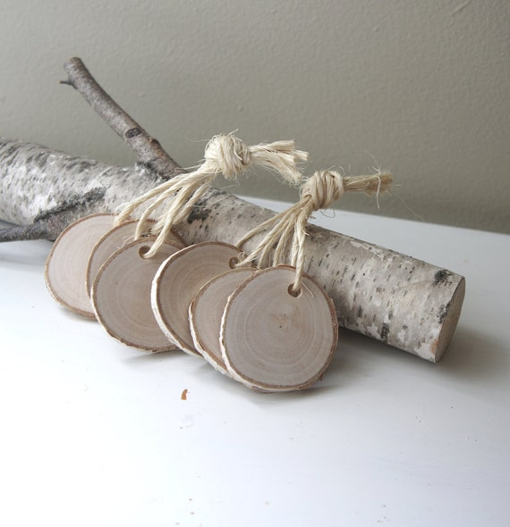 white birch wood tags -  set of 25